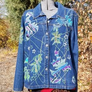 Jackets & Blazers - Fall Leaves Embroidered Jean Jacket